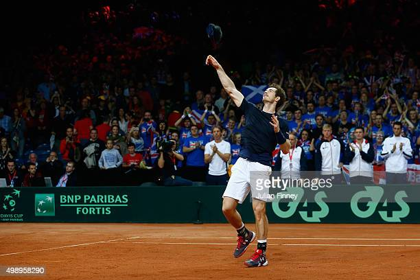 Andy Murray of Great Britain celebrates defeating Ruben Bemelmans of Belgium during day one of the Davis Cup Final between Belgium and Great Britain...