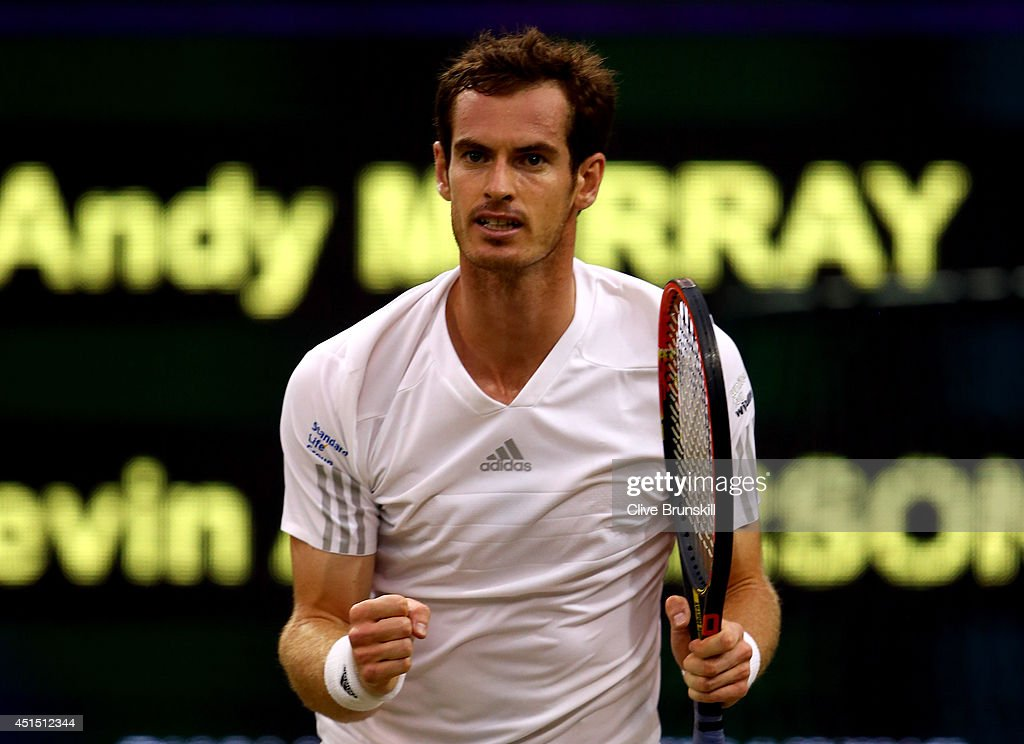 Andy Murray of Great Britain celebrates during his Gentlemen's Singles fourth round match against Kevin Anderson of South Africa on day seven of the Wimbledon Lawn Tennis Championships at the All England Lawn Tennis and Croquet Club on June 30, 2014 in London, England.