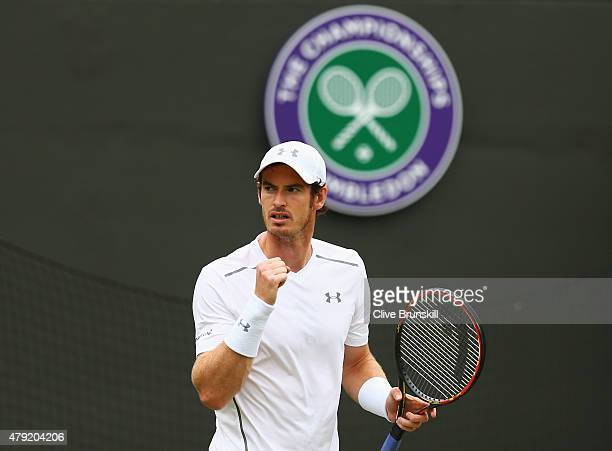 Andy Murray of Great Britain celebrates during his Gentlemen's Singles second round match against Robin Haase of Netherlands during day four of the...