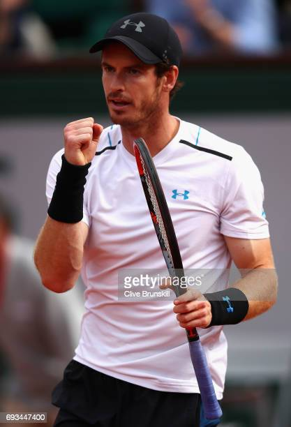 Andy Murray of Great Britain celebrates during mens singles quarter finals match against Kei Nishikori of Japan on day eleven of the 2017 French Open...