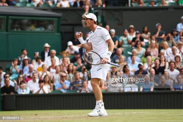 Andy Murray of Great Britain celebrates during the Gentlemen's Singles third round match against Fabio Fognini of Italy on day five of the Wimbledon...