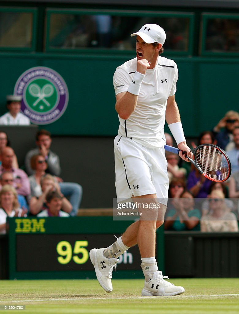 <a gi-track='captionPersonalityLinkClicked' href=/galleries/search?phrase=Andy+Murray+-+Tennis+Player&family=editorial&specificpeople=200668 ng-click='$event.stopPropagation()'>Andy Murray</a> of Great Britain celebrates during the Men's Singles second round match against Yen-Hsun Lu of Taipei on day four of the Wimbledon Lawn Tennis Championships at the All England Lawn Tennis and Croquet Club on June 30, 2016 in London, England.
