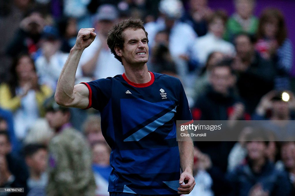 <a gi-track='captionPersonalityLinkClicked' href=/galleries/search?phrase=Andy+Murray+-+Tennis+Player&family=editorial&specificpeople=200668 ng-click='$event.stopPropagation()'>Andy Murray</a> of Great Britain celebrates his 7-5, 7-5 win against Novak Djokovic of Serbia in the Semifinal of Men's Singles Tennis on Day 7 of the London 2012 Olympic Games at Wimbledon on August 3, 2012 in London, England.