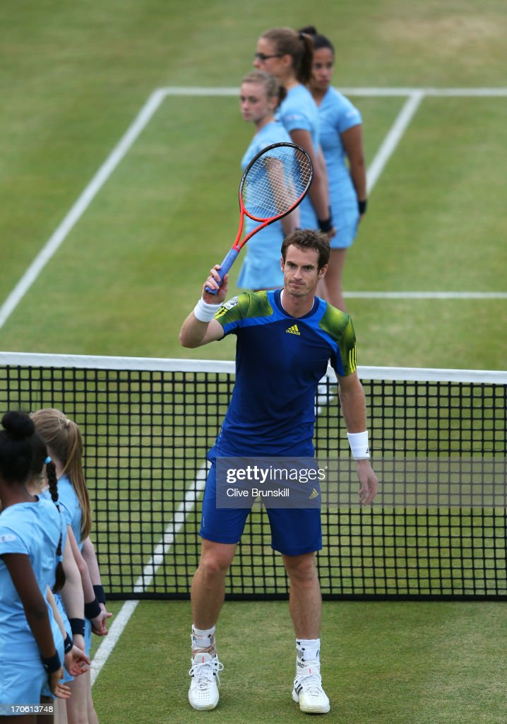 <a gi-track='captionPersonalityLinkClicked' href=/galleries/search?phrase=Andy+Murray+-+Tennis+Player&family=editorial&specificpeople=200668 ng-click='$event.stopPropagation()'>Andy Murray</a> of Great Britain celebrates his victory during the Men's Singles semi final round match against Jo-Wilfried Tsonga of France on day six of the AEGON Championships at Queens Club on June 15, 2013 in London, England.