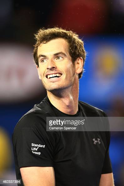 Andy Murray of Great Britain celebrates in his quarterfinal match against Nick Kyrgios of Australia during day nine of the 2015 Australian Open at...