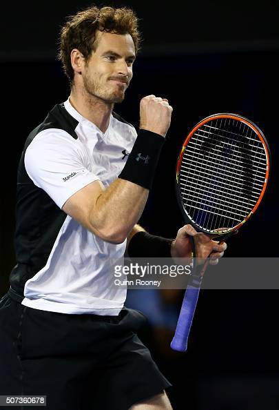 Andy Murray of Great Britain celebrates in his semi final match against Milos Raonic of Canada during day 12 of the 2016 Australian Open at Melbourne...