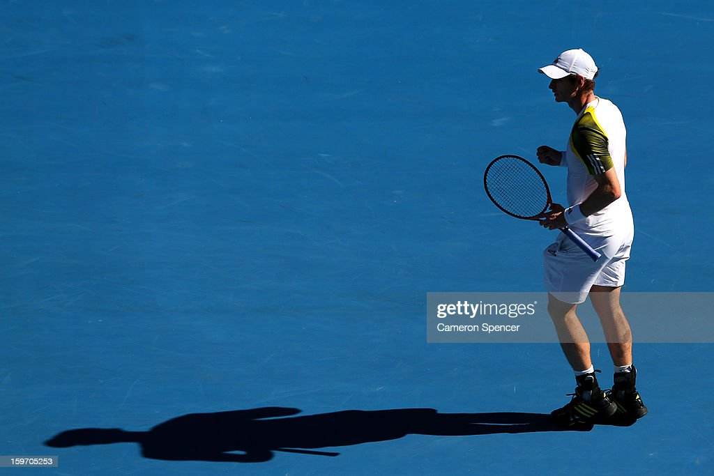 Andy Murray of Great Britain celebrates in his third round match against Ricardas Berankis of Lithuania during day six of the 2013 Australian Open at Melbourne Park on January 19, 2013 in Melbourne, Australia.