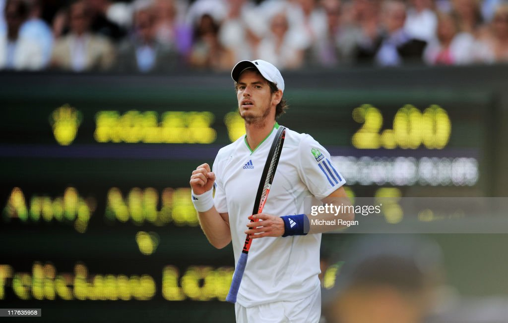 Andy Murray of Great Britain celebrates match point after winning his quarterfinal round match against Feliciano Lopez of Spain on Day Nine of the Wimbledon Lawn Tennis Championships at the All England Lawn Tennis and Croquet Club on June 29, 2011 in London, England.