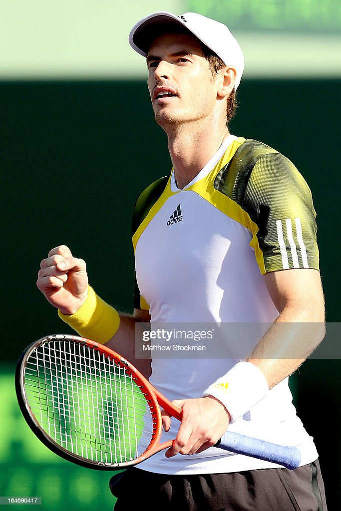 Andy Murray of Great Britain celebrates match point against Andreas Seppi of Italy during the Sony Open at Crandon Park Tennis Center on March 26, 2013 in Key Biscayne, Florida.