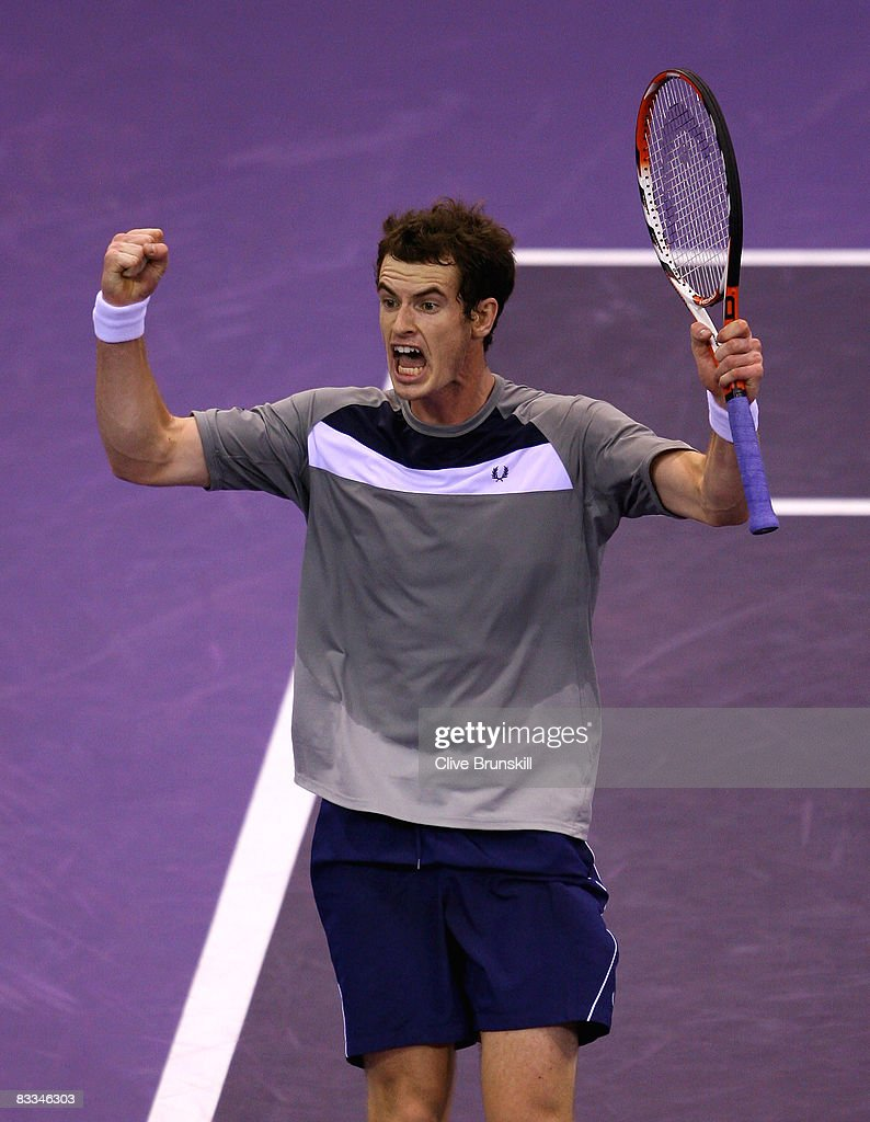 Andy Murray of Great Britain celebrates match point against Gilles Simon of France during the final at the Madrid Masters tennis tournament at the Madrid Arena on October 19, 2008 in Madrid, Spain.