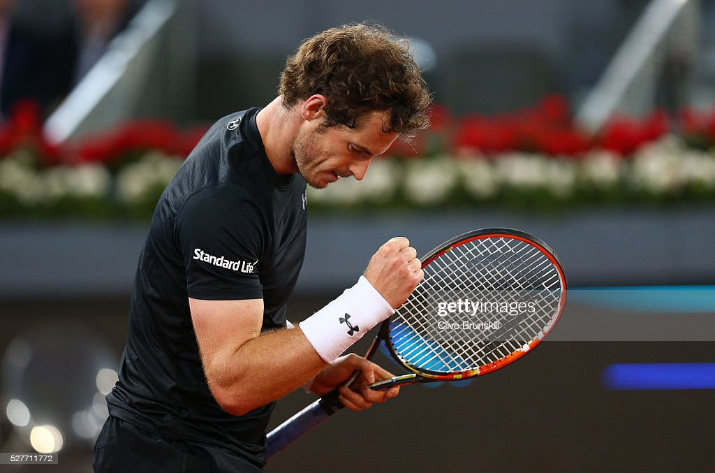 Andy Murray of Great Britain celebrates match point against Radek Stepanek of the Czech Republic in their second round match during day four of the Mutua Madrid Open tennis tournament at the Caja Magica on May 03, 2016 in Madrid,Spain.