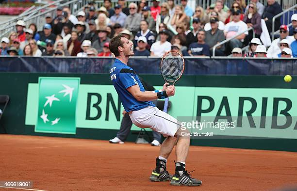 Andy Murray of Great Britain celebrates match point against Sam Querrey of the United States during day three of the Davis Cup World Group first...