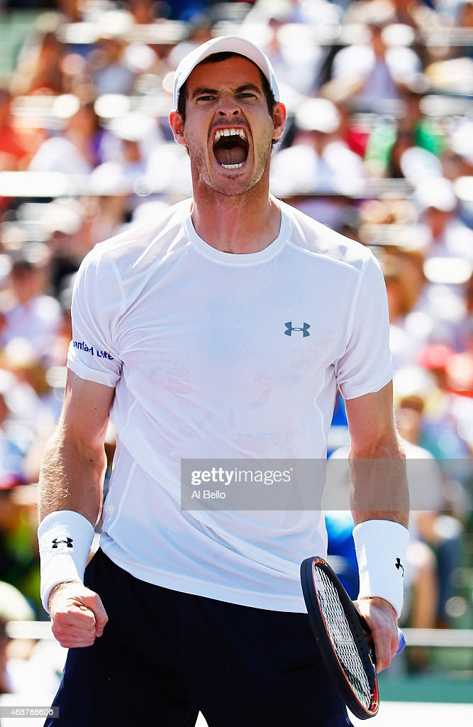 Andy Murray of Great Britain celebrates match point against Tomas Berdych of the Czech Republic during day 12 of the Miami Open at Crandon Park...
