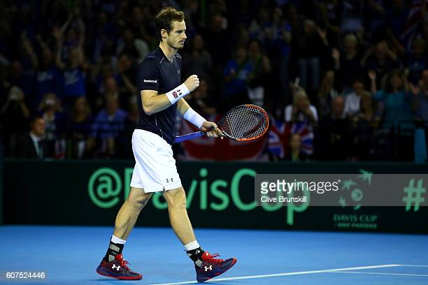 Andy Murray of Great Britain celebrates match point during his singles match against Guido Pella of Argentina during day three of the Davis Cup semi...
