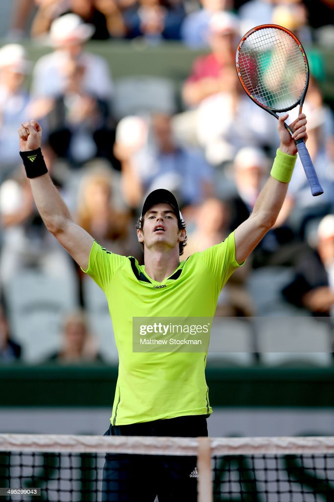 <a gi-track='captionPersonalityLinkClicked' href=/galleries/search?phrase=Andy+Murray+-+Tennis+Player&family=editorial&specificpeople=200668 ng-click='$event.stopPropagation()'>Andy Murray</a> of Great Britain celebrates match point during his men's singles match against Fernando Verdasco of Spain on day nine of the French Open at Roland Garros on June 2, 2014 in Paris, France.