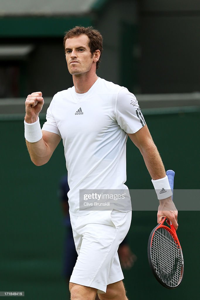 <a gi-track='captionPersonalityLinkClicked' href=/galleries/search?phrase=Andy+Murray+-+Tennis+Player&family=editorial&specificpeople=200668 ng-click='$event.stopPropagation()'>Andy Murray</a> of Great Britain celebrates match point during his Gentlemen's Singles second round match against Lu Yen-Hsun of Taipei on day three of the Wimbledon Lawn Tennis Championships at the All England Lawn Tennis and Croquet Club on June 26, 2013 in London, England.