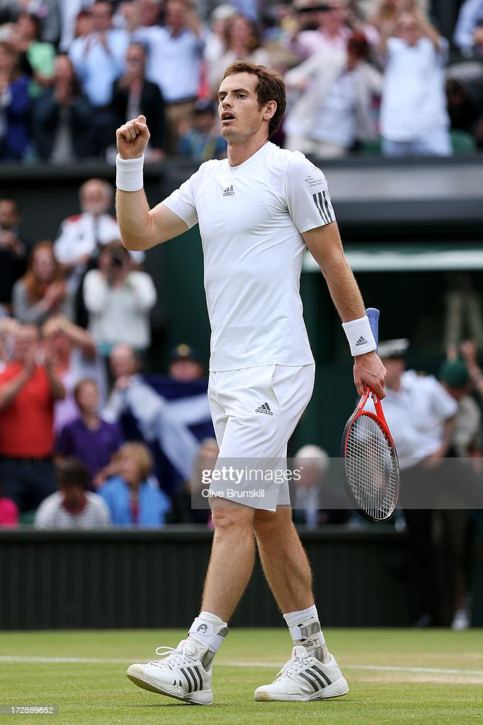 <a gi-track='captionPersonalityLinkClicked' href=/galleries/search?phrase=Andy+Murray+-+Tennis+Player&family=editorial&specificpeople=200668 ng-click='$event.stopPropagation()'>Andy Murray</a> of Great Britain celebrates match point during the Gentlemen's Singles quarter-final match against Fernando Verdasco of Spain on day nine of the Wimbledon Lawn Tennis Championships at the All England Lawn Tennis and Croquet Club at Wimbledon on July 3, 2013 in London, England.