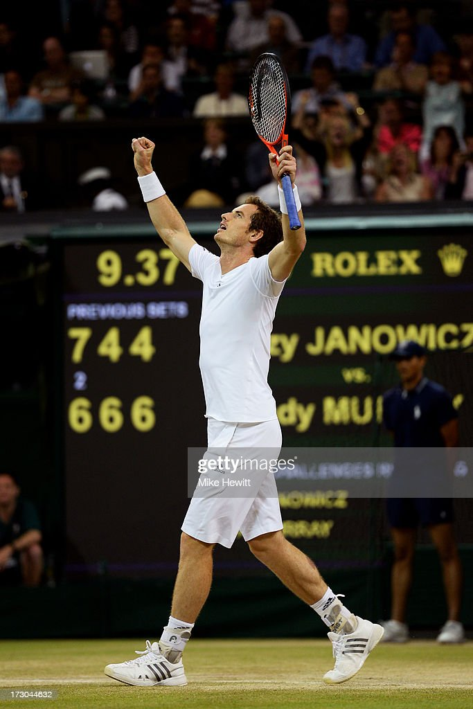 <a gi-track='captionPersonalityLinkClicked' href=/galleries/search?phrase=Andy+Murray+-+Tennis+Player&family=editorial&specificpeople=200668 ng-click='$event.stopPropagation()'>Andy Murray</a> of Great Britain celebrates match point during the Gentlemen's Singles semi-final match against Jerzy Janowicz of Poland on day eleven of the Wimbledon Lawn Tennis Championships at the All England Lawn Tennis and Croquet Club on July 5, 2013 in London, England.