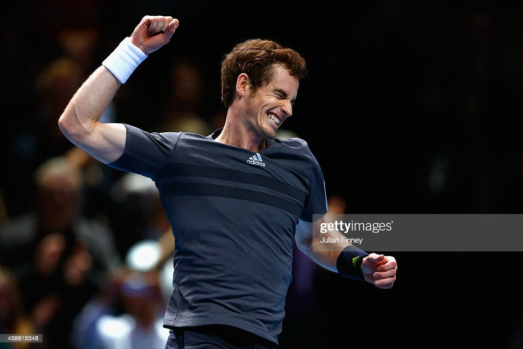 Andy Murray of Great Britain celebrates match point in the round robin singles match against Milos Raonic of Canada on day three of the Barclays ATP World Tour Finals at the O2 Arena on November 11, 2014 in London, England