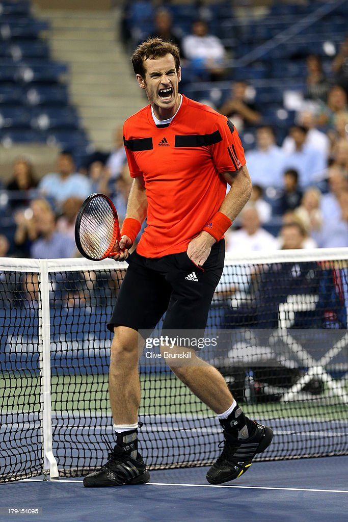 Andy Murray of Great Britain celebrates match point to win his men's singles fourth round match against Denis Istomin of Uzbekistan on Day Nine of the 2013 US Open at USTA Billie Jean King National Tennis Center on September 3, 2013 in the Flushing neighborhood of the Queens borough of New York City.