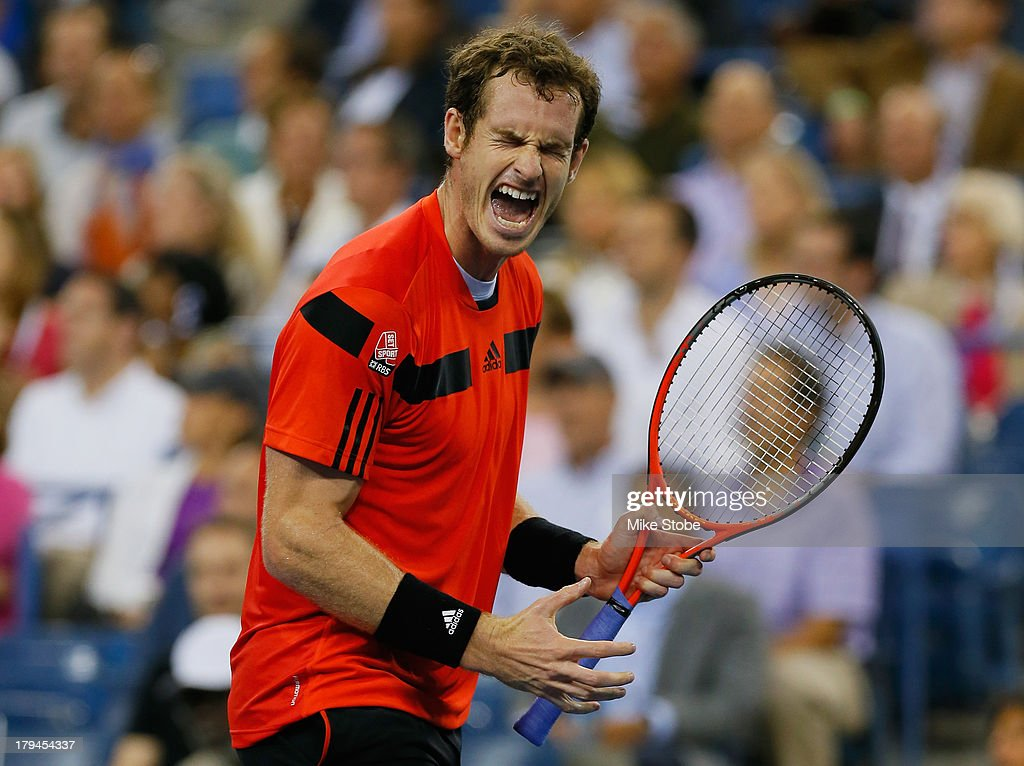 Andy Murray of Great Britain celebrates reacts during his men's singles fourth round match against Denis Istomin of Uzbekistan on Day Nine of the 2013 US Open at the USTA Billie Jean King National Tennis Center on September 3, 2013 in New York City.