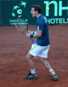 Andy Murray of Great Britain celebrates saving second set point against him whilst playing the second rubber against Andreas Seppi of Italy during...