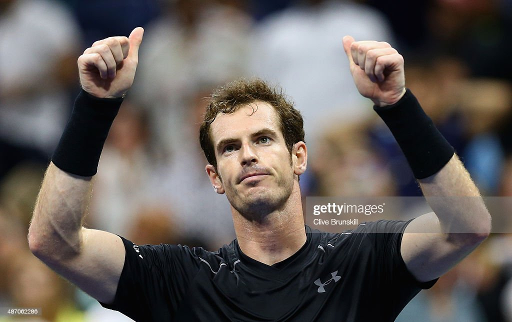 Andy Murray of Great Britain celebrates to the crowd after his straight sets victory against Thomaz Bellucci of Brazil during their mens singles third round match on Day Six of the 2015 US Open at the USTA Billie Jean King National Tennis Center on September 5, 2015 in the Flushing neighborhood of the Queens borough of New York City.
