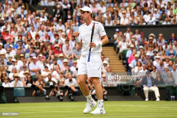 Andy Murray of Great Britain celebrates victory after the Gentlemen's Singles first round match against Alexander Bublik of Kazakhstan on day one of...