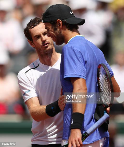 Andy Murray of Great Britain celebrates victory during his match with Karen Khachanov of Russia on Day Nine at Roland Garros on June 5 2017 in Paris...