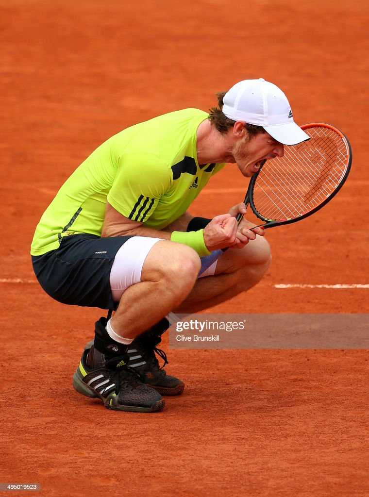 <a gi-track='captionPersonalityLinkClicked' href=/galleries/search?phrase=Andy+Murray+-+Tennis+Player&family=editorial&specificpeople=200668 ng-click='$event.stopPropagation()'>Andy Murray</a> of Great Britain celebrates victory during his men's singles match against Philipp Kohlschreiber of Germany on day eight of the French Open at Roland Garros on June 1, 2014 in Paris, France.