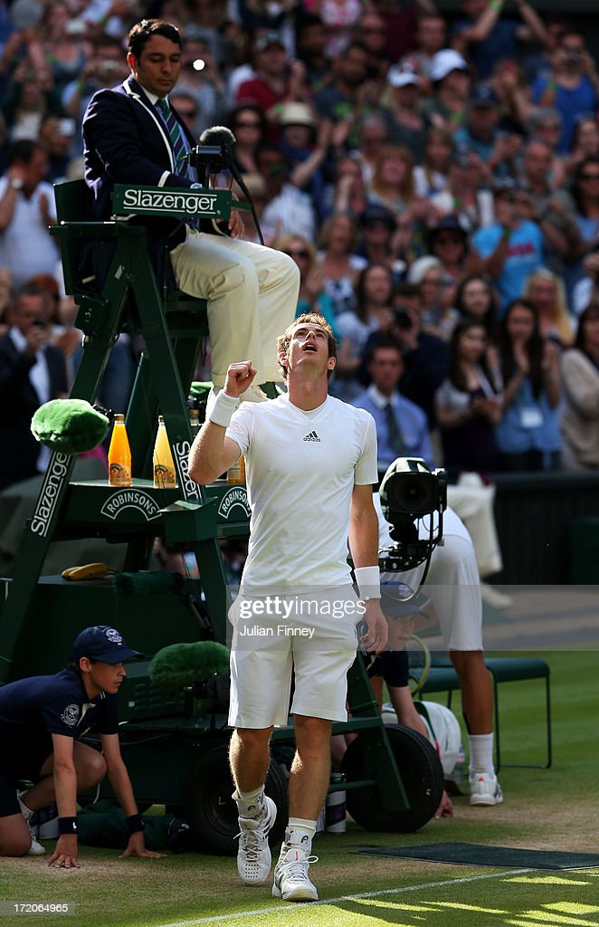Andy Murray of Great Britain celebrates victory during the Gentlemen's Singles fourth round match against Mikhail Youzhny of Russia on day seven of the Wimbledon Lawn Tennis Championships at the All England Lawn Tennis and Croquet Club on July 1, 2013 in London, England.