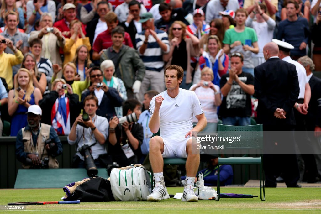 <a gi-track='captionPersonalityLinkClicked' href=/galleries/search?phrase=Andy+Murray+-+Tennis+Player&family=editorial&specificpeople=200668 ng-click='$event.stopPropagation()'>Andy Murray</a> of Great Britain celebrates victory during the Gentlemen's Singles quarter-final match against Fernando Verdasco of Spain on day nine of the Wimbledon Lawn Tennis Championships at the All England Lawn Tennis and Croquet Club at Wimbledon on July 3, 2013 in London, England.