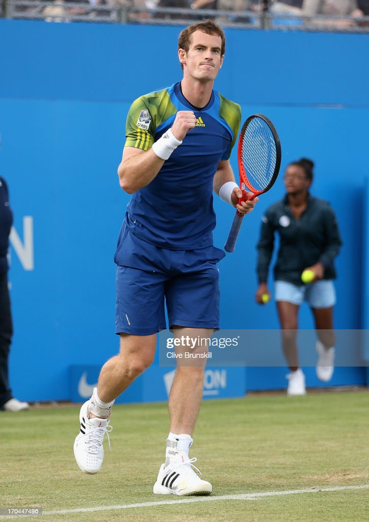 Andy Murray of Great Britain celebrates victory during the Men's Singles third round match against Marinko Matosevic of Australia on day four of the AEGON Championships at Queens Club on June 13, 2013 in London, England.