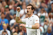 Andy Murray of Great Britain celebrates victory during the Men's Singles third round match against John Millman of Australia on day six of the...