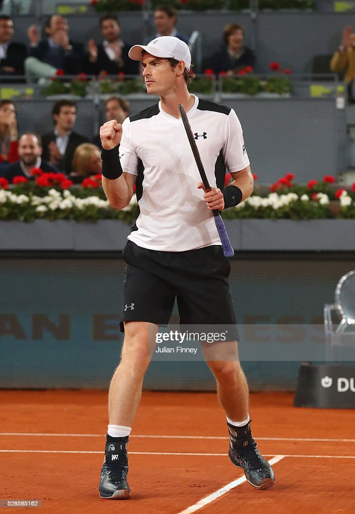 Andy Murray of Great Britain celebrates victory during the Men's Singles Quarter Final match against Tomas Berdych of the Czech Republic during day seven of the Mutua Madrid Open at La Caja Magica on May 6, 2016 in Madrid, Spain.