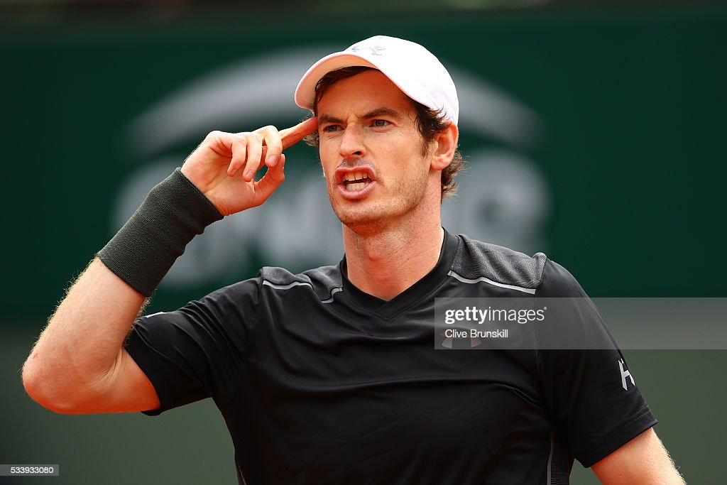 <a gi-track='captionPersonalityLinkClicked' href=/galleries/search?phrase=Andy+Murray+-+Tennis+Player&family=editorial&specificpeople=200668 ng-click='$event.stopPropagation()'>Andy Murray</a> of Great Britain celebrates victory during the Men's Singles first round match against Radek Stepanek of the Czech Republic on day three of the 2016 French Open at Roland Garros on May 24, 2016 in Paris, France.