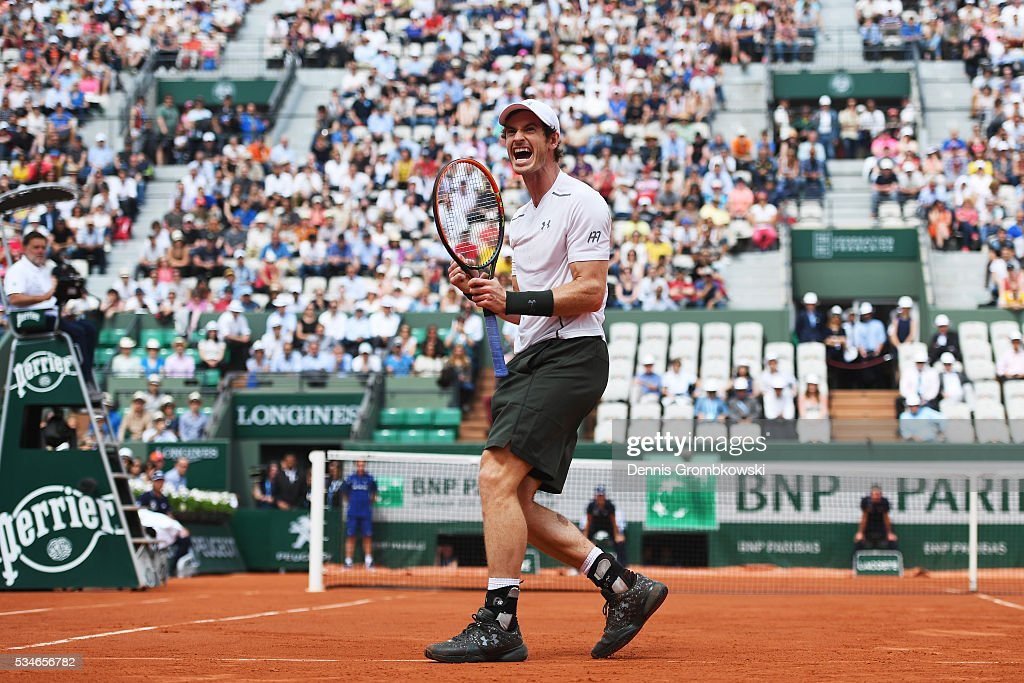 <a gi-track='captionPersonalityLinkClicked' href=/galleries/search?phrase=Andy+Murray+-+Tennis+Player&family=editorial&specificpeople=200668 ng-click='$event.stopPropagation()'>Andy Murray</a> of Great Britain celebrates victory during the Men's Singles third round match against Ivo Karlovic of Croatia on day six of the 2016 French Open at Roland Garros on May 27, 2016 in Paris, France.