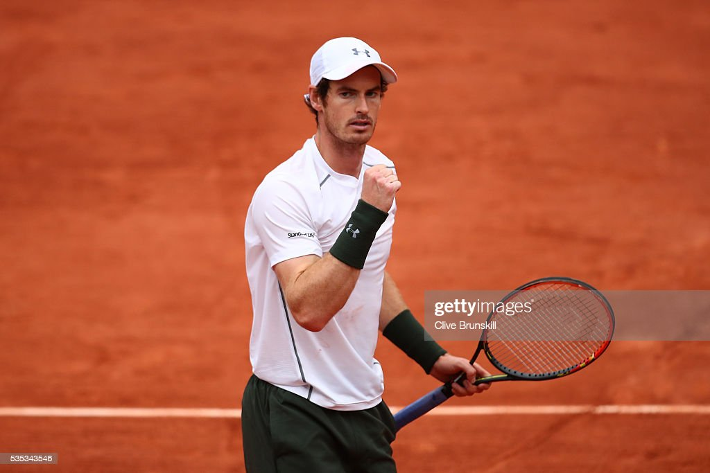 <a gi-track='captionPersonalityLinkClicked' href=/galleries/search?phrase=Andy+Murray+-+Tennis+Player&family=editorial&specificpeople=200668 ng-click='$event.stopPropagation()'>Andy Murray</a> of Great Britain celebrates victory during the Men's Singles fourth round match against John Isner of the United States on day eight of the 2016 French Open at Roland Garros on May 29, 2016 in Paris, France.