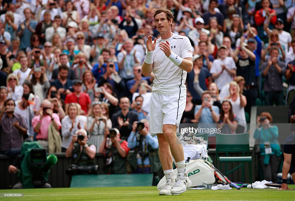 <a gi-track='captionPersonalityLinkClicked' href=/galleries/search?phrase=Andy+Murray+-+Tennis+Player&family=editorial&specificpeople=200668 ng-click='$event.stopPropagation()'>Andy Murray</a> of Great Britain celebrates victory during the Men's Singles second round match against Yen-Hsun Lu of Taipei on day four of the Wimbledon Lawn Tennis Championships at the All England Lawn Tennis and Croquet Club on June 30, 2016 in London, England.