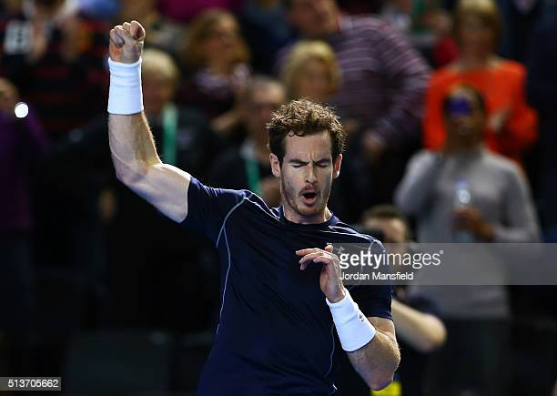 Andy Murray of Great Britain celebrates victory during the singles match against Taro Daniel of Japan on day one of the Davis Cup World Group first...