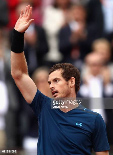 Andy Murray of Great Britain celebrates victory following the mens singles third round match against Juan Martin Del Potro of Argentina on day seven...