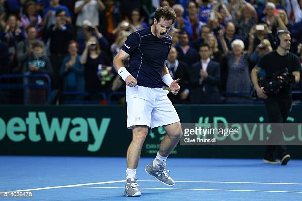 Andy Murray of Great Britain celebrates victory following the singles match against Kei Nishikori of Japan on day three of the Davis Cup World Group...