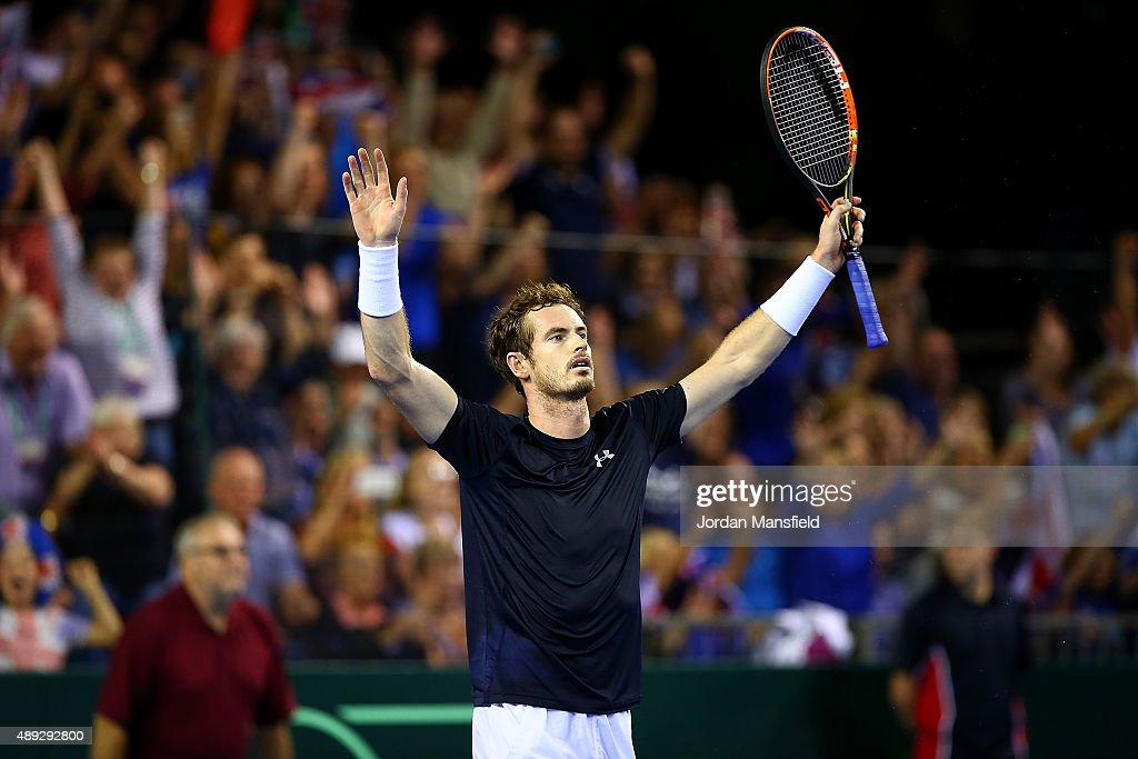 Andy Murray of Great Britain celebrates victory in his match against Bernard Tomic of Australia during Day Three of the Davis Cup Semi Final match...