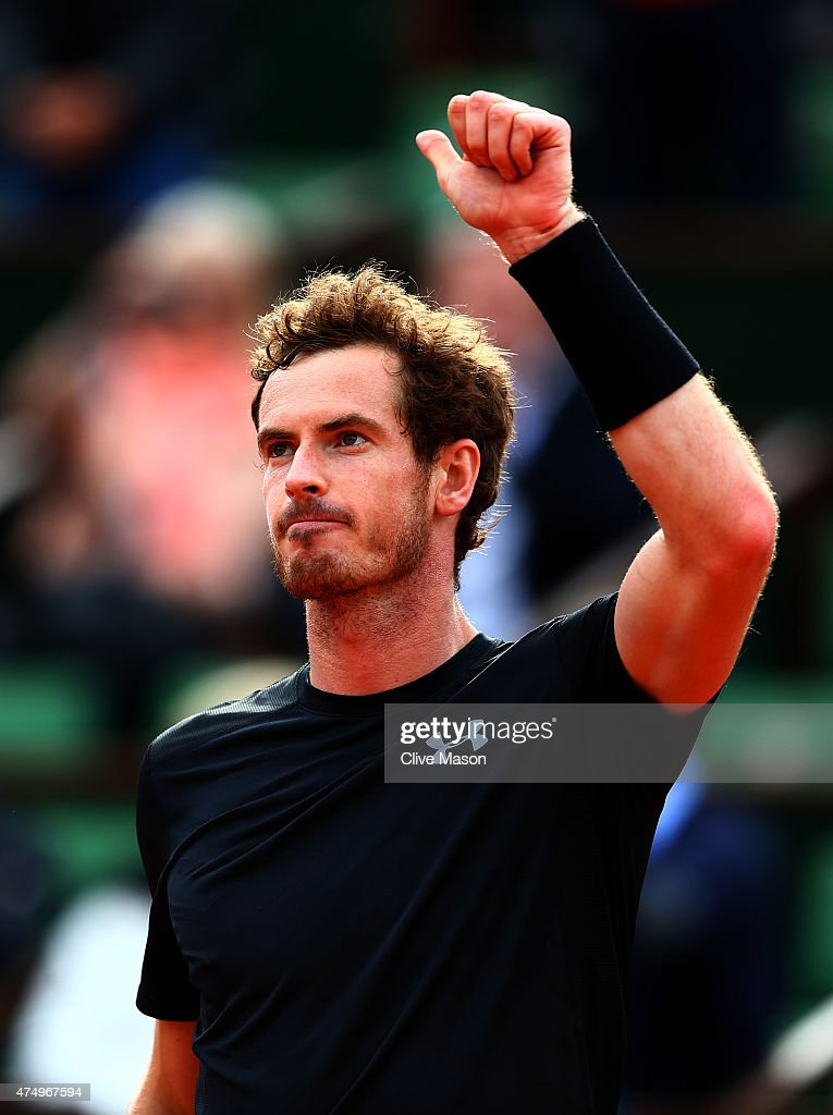 Andy Murray of Great Britain celebrates victory in his Men's Singles match against Joao Sousa of Portugal on day five of the 2015 French Open at Roland Garros on May 28, 2015 in Paris, France.