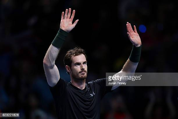 Andy Murray of Great Britain celebrates victory in his men's singles match against Marin Cilic of Croatia on day two of the ATP World Tour Finals at...