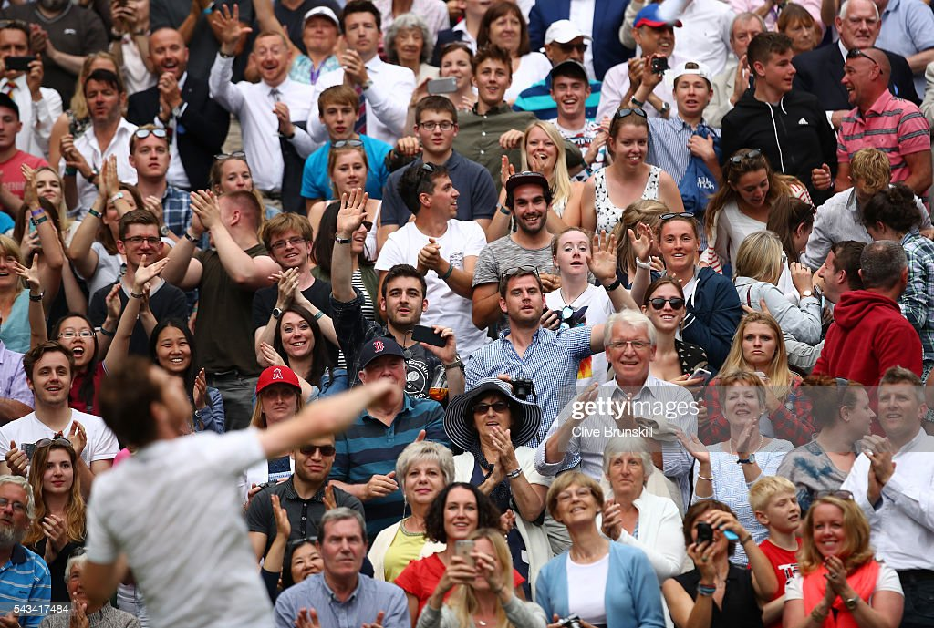 <a gi-track='captionPersonalityLinkClicked' href=/galleries/search?phrase=Andy+Murray+-+Tennis+Player&family=editorial&specificpeople=200668 ng-click='$event.stopPropagation()'>Andy Murray</a> of Great Britain celebrates victory with supporters during the Men's Singles first round match against Liam Broady of Great Britain on day two of the Wimbledon Lawn Tennis Championships at the All England Lawn Tennis and Croquet Club on June 28, 2016 in London, England.