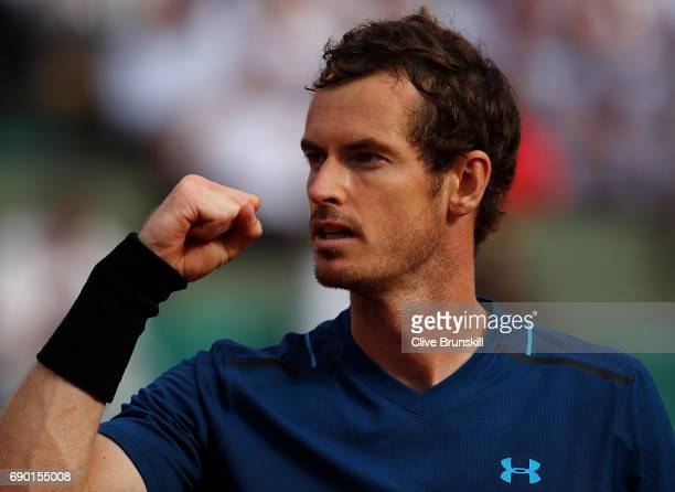 Andy Murray of Great Britain celebrates winning a point during the first round match against Andrey Kuznetsov of Russia on day three of the 2017...