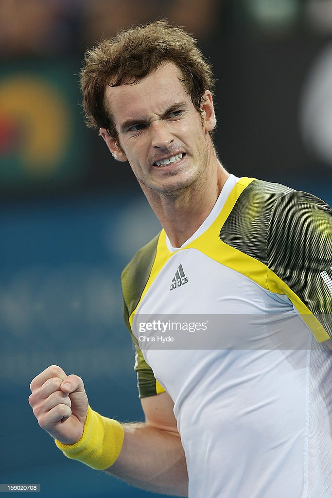 <a gi-track='captionPersonalityLinkClicked' href=/galleries/search?phrase=Andy+Murray+-+Tennis+Player&family=editorial&specificpeople=200668 ng-click='$event.stopPropagation()'>Andy Murray</a> of Great Britain celebrates winning his final match against Grigor Dimitrov of Bulgaria on day eight of the Brisbane International at Pat Rafter Arena on January 6, 2013 in Brisbane, Australia.