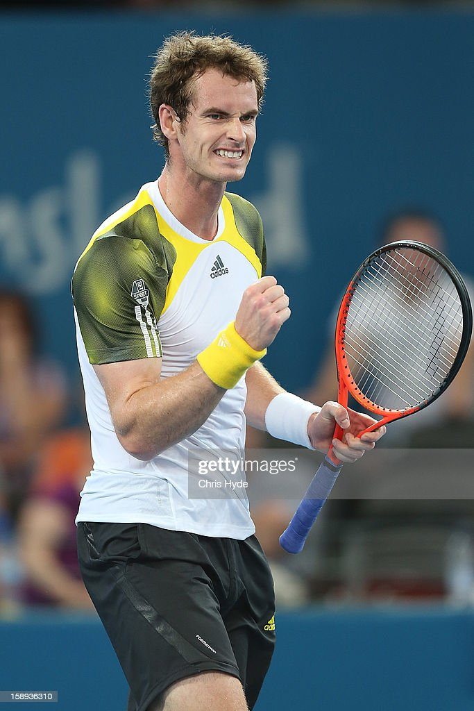 <a gi-track='captionPersonalityLinkClicked' href=/galleries/search?phrase=Andy+Murray+-+Tennis+Player&family=editorial&specificpeople=200668 ng-click='$event.stopPropagation()'>Andy Murray</a> of Great Britain celebrates winning his match against Denis Istomin of Uzbekistan on day six of the Brisbane International at Pat Rafter Arena on January 4, 2013 in Brisbane, Australia.