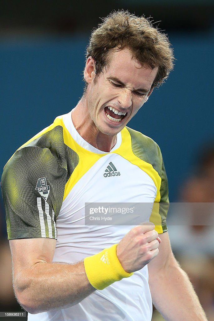 Andy Murray of Great Britain celebrates winning his match against Denis Istomin of Uzbekistan on day six of the Brisbane International at Pat Rafter Arena on January 4, 2013 in Brisbane, Australia.